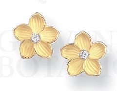 Venetian Pansy Earrings, 18K Gold and Platinum