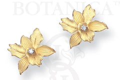 ports of paradise orchid earrings 18K gold with diamond accents