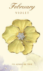 violet February birth flower brooch in 18K gold