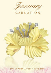 Carnation January birth flower in 18K gold and platinum