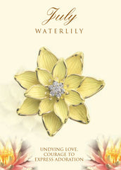 waterlily birth flower brooch in 18K gold
