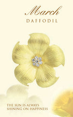daffodil March birth flower brooch in 18K gold