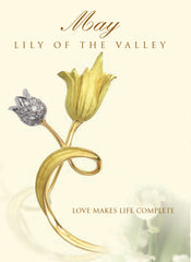 lily of the valley may birth flower brooch pendant in 18K gold and platinum