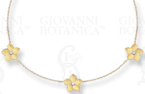 Venetian Pansy Necklace with 3 Flowers