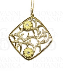 Ikebana pendant in 18K gold