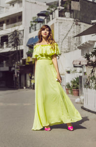 Cold Shoulder Ruffled Maxi