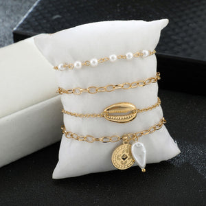 Pearl and shell Bracelet Stack