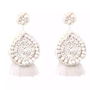 White tassel Statement Earrings