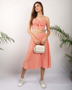 Orange Checkered Co-Ord Set
