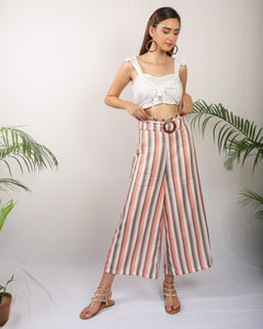 Striped Wide Leg Trouser With Belt