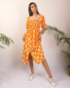 Orange Polka Front Slit Dress