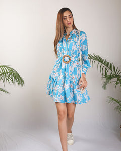 Blue Floral Detailed Dress With Cane Buckle