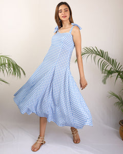 Blue Checkered Pleated Knot Strap Dress
