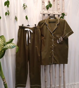 Olive Green Personalized Night Suit Set (Shorts)