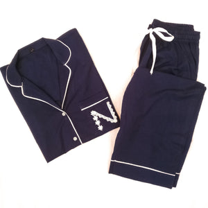 Navy Blue Personlaized Initial Night Suit (Shorts)