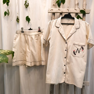 Beige Personalized Initial Night Suit Set (Shorts)