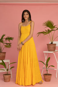 Yellow Long Tiered Dress