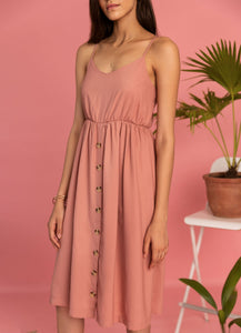 Pink Midi Spaghetti Dress