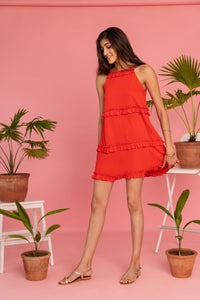 Red Three Tiered Short Dress