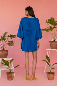Blue Oversized Short Poplin Dress