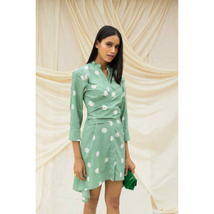 Green And White Polka Dot Wraparound Dress