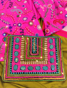 Colourful Hand-Embroidered Pouch/Clutch With Detachable Chain Sling
