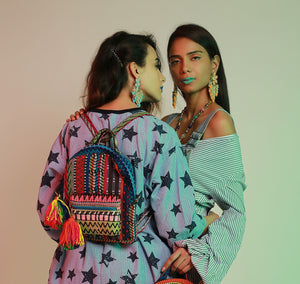 Zero-waste Jacquard Backpack with Multicolour Tassel Detailing