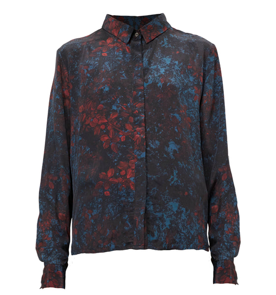 Callie Shirt - Red leaves print