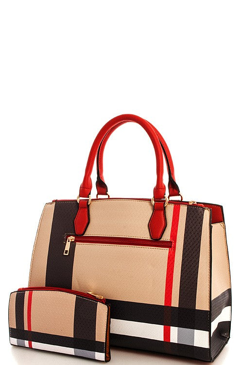 Ariana Red 2in1 Modern Check Satchel with Matching Wallet