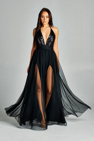 Rayna Black Sheer Thigh Slit Flowy Dress