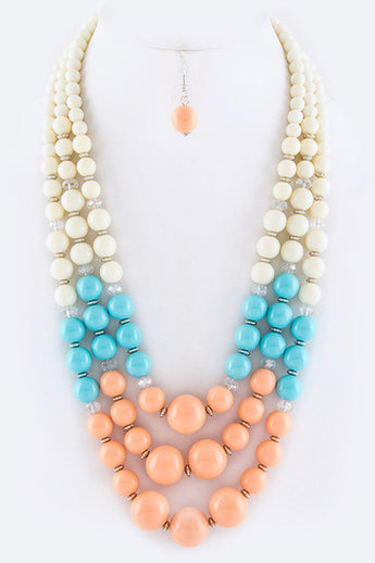 Jolie Multi Color Tone Layered Beads Necklace Set