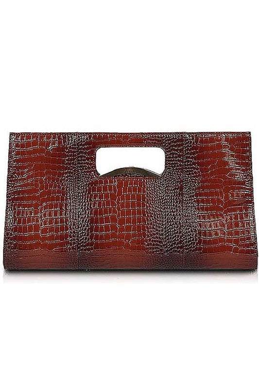 Gia Brown Designed Inspired Patent Croc Clutch
