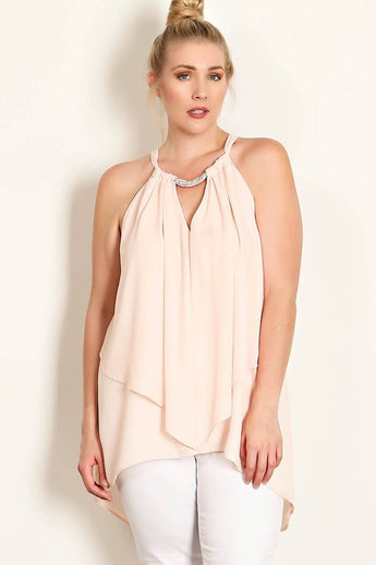 Rachel Peach Chain Embellishment Ruffle Halter Blouse- Plus