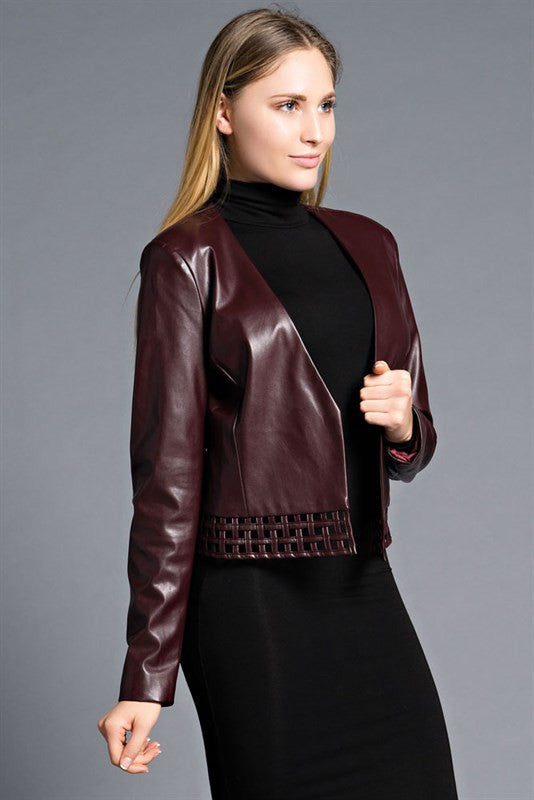 Leslie Burgundy Faux Leather Caged Detail Crop Jacket