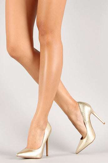 Jayla Gold Shimmer High Heel Pumps