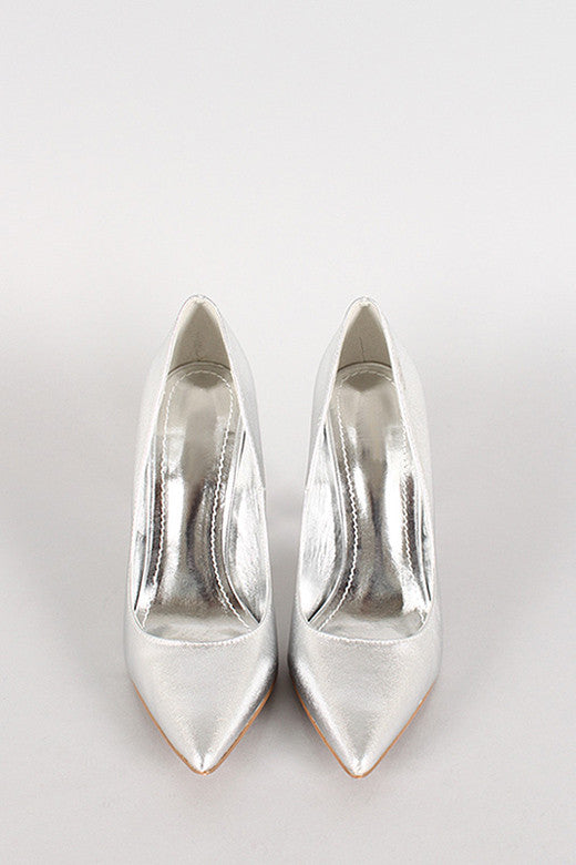 Jayla Silver Shimmer High Heel Pumps