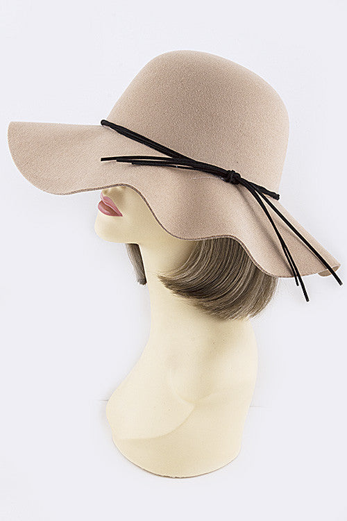 Gia Taupe Faux Leather Knot Accent Floppy Hat