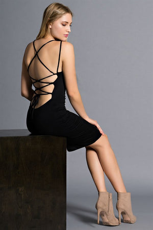Brooklyn Black Backless Spaghetti Strap Body Con Dress