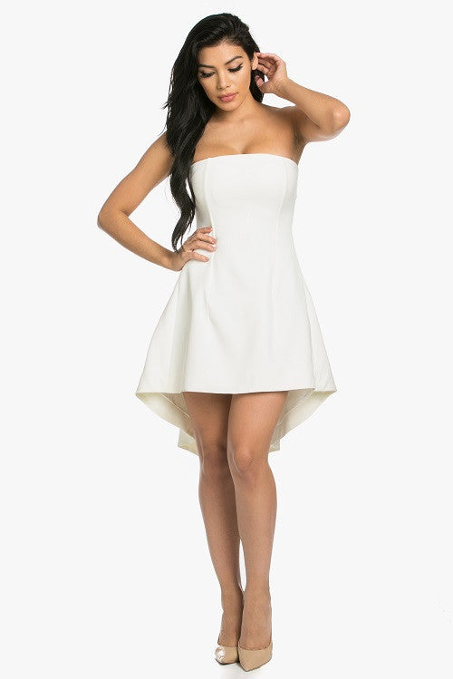 Lauren White High Low Cocktail Dress