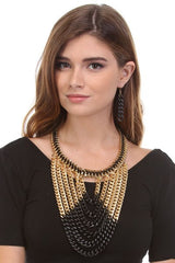 Lexie Black/Gold Color Block Chain Draped Necklace