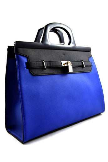 London Royal Blue/Black Faux Leather Tote Bag