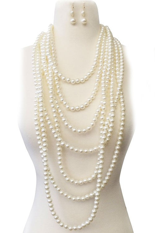 Ciara Cream Pearl Fashion Necklace and Earring Set