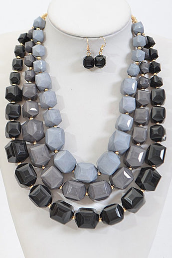 Kendall Black Layered Statement Necklace Set