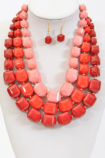 Kendall Red Layered Statement Necklace Set