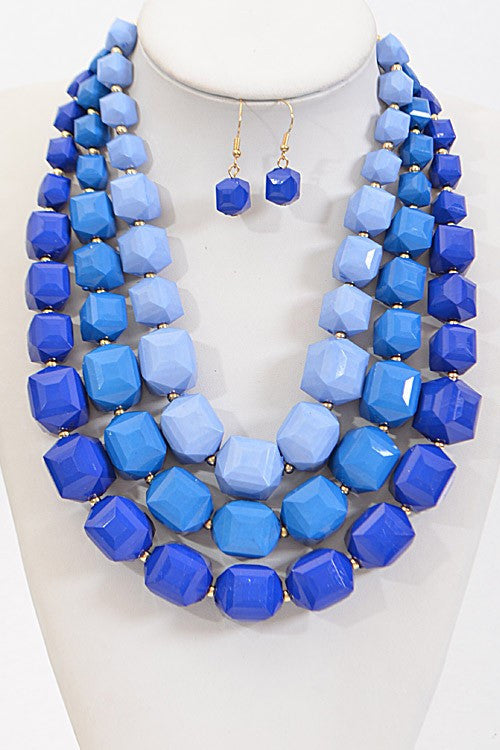 Kendall Blue Layered Statement Necklace Set