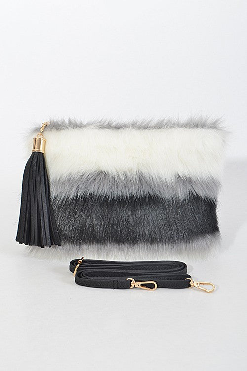 Riley Black/White Faux Fur Clutch