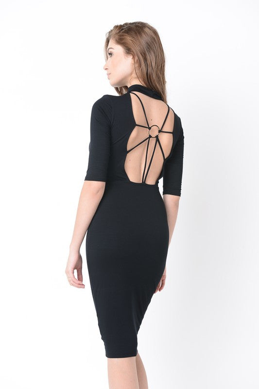 Faith Black Ring Detailed Back Midi Dress