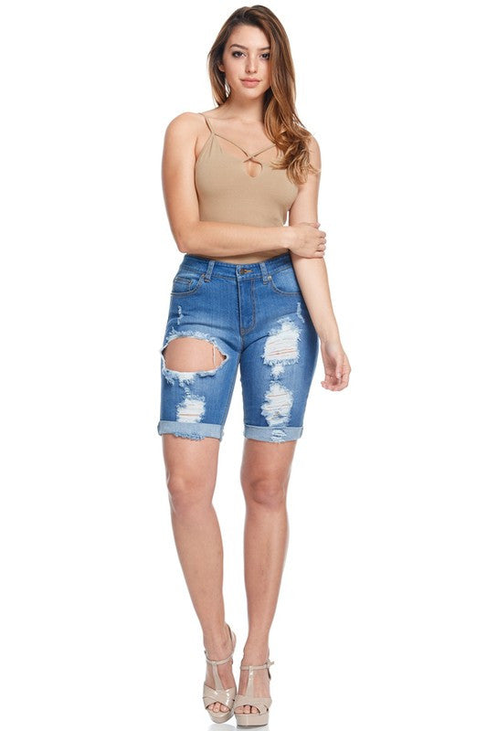 Reese Denim Destroyed Roll Up Short Pants