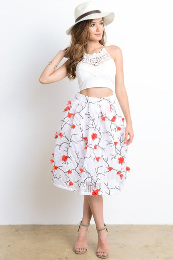 Michelle Cherry Blossoms Print Skirt