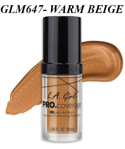 Gia LA GIRL Pro Coverage Illuminating Foundation- GLM647- WARM BEIGE